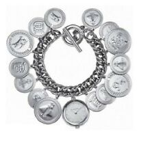 NEW BURBERRY SILVER TONE MULTIPLE COINS CHARM BRACELET WATCH BU5221