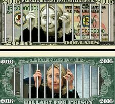 Hillary for prison in 2016 Novelty Dollar plus protector & free shipping New