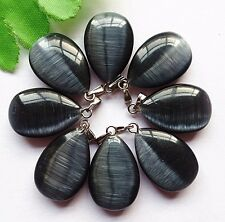 8pcs Beautiful unique black cat eye teardrop pendant bead BA748