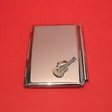 Guitar & Cowboy Hat Motif on Chrome Notebook / Card Holder & Pen Christmas Gift