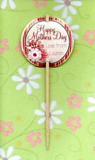12 LUXURY PERSONALISED MOTHERS DAY CUP CAKE FLAG Party Pick Topper Decoration