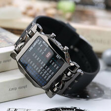 New Unisex Square Style Cool Colorful LED Digital Watch Binary Wrist Black F7