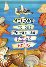 "Signs of Paradise Summer Garden Flag shells Shore Seagull Nautical Beach 13""x18"""