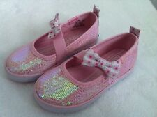 Keds Girls Shoes Champion Pink Twill Sequin Bow Elastic Strap Size 6 1/2 NIB