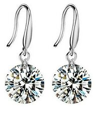 Mahi Rhodium Plated Delicate Fashion Crystal Solitaire Dangle Earring ER1109425R