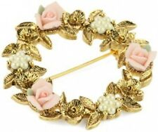 1928 Jewelry Porcelain Rose Floral Wreath Brooch Free Same Day Shipping NIB