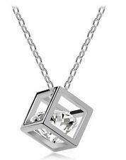 Amazing Magic Cube Silver and White Zircon Pendant Necklace N116