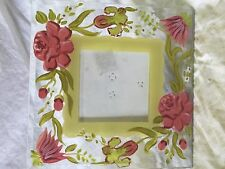 Glass Picture Frame Handprinted Pink Flowers store#C2