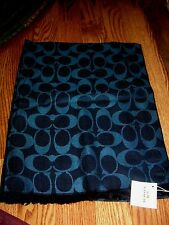 COACH Signature C Scarve MIDNIGHT NAVY Blue Scarf Wrap Shawl NWT NEW FREE SHIP