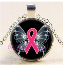 Pink Ribbon Butterfly Cabochon Glass Tibet Silver Chain Pendant Necklace#J46