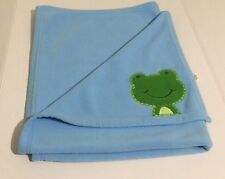 Carter's Baby Just One Year Frog Blanket Blue Green Fleece Lovey Security HTF