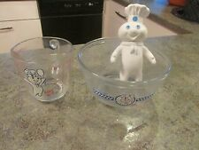 VINTAGE POPPIN FRESH PILLSBURY DOUGHBOY BOWL MEASURING CUP & VINYL TOY