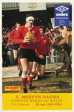 Mervyn Davies, London Welsh (Swansea) & Wales RUGBY PLAYER POSTCARD