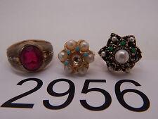 Vintage Jewelry LOT OF 3 Rings SARAH COV AVON BEADS 2956