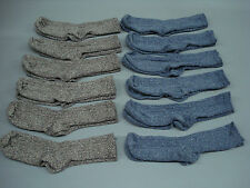 NWOT Women's Merino Wool Blend Ribbed Socks Shoe Size 6-9 Brown/Blue 12 Pair