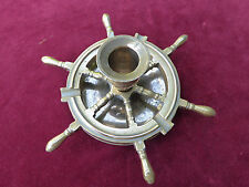 Vintage Brass Spinning Ships Wheel Ashtray