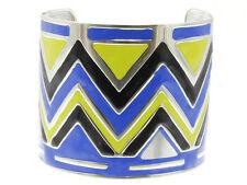 Trendy HOT Blue Chartreuse Silver Wide Black CHEVRON Zigzag Chic Cuff Bracelet
