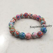 20pcs Mixed Color 8mm Beaded Polymer Clay Bracelets For Kids Wholesale