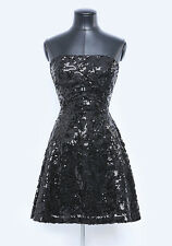 NWT bebe lace strapless black sequin flare sparkling bustier top dress M medium