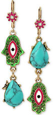 NWT Betsey Johnson 'Boho' Gold-Tone Hamsa and Blue Stone Mismatch Drop Earrings