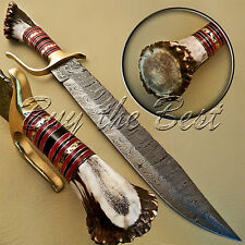 BEAUTIFUL CUSTOM HAND MADE DAMASCUS STEEL HUNTING BOWIE KNIFE HANDLE STAG