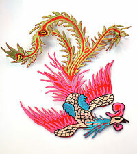 CHINESE PHOENIX PINK & BLUE Embroidered Iron Sew On Cloth Patch Badge  APPLIQUE