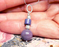 """NATURAL ROUND 10mm PURPLE SUGILITE BEAD STERLING SILVER PENDANT 1.3"""""""