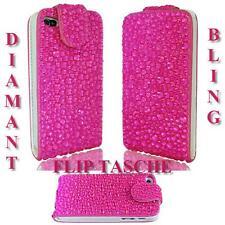 LUXUS f Samsung Galaxy S4 i9500 i9505 Strass Flip Tasche Bling Hülle Pink