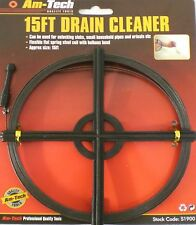 DRAINS UNBLOCKING TOOL FLEXIBLE WIRE ROD SET 15FT FOR SINKS BATHS PIPES CLEANER