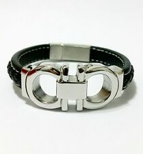 Men's White Gold Tone Stainless Steel Top Fashion Black Leather Bracelet