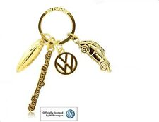 Official VW Beetle Car 4 Charm Keyring Volkswagen Car Souvenir Gift Metal Gold