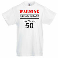 Men's Graphic 50th Birthday T-shirt - Warning Grumpy Old Git Just Turned 50