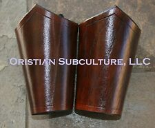 Short Dark Brown Leather Bracers Arm Armor SCA LARP cosplay renaissance armour