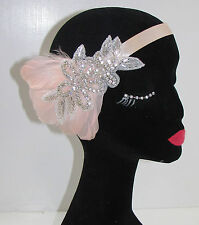 Blush Pink & Silver Rhinestone Feather Headband Headpiece 1920s Flapper Vtg 7AS