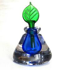 Hand Blown Crystal Glass Perfume Bottle Cobalt well Green Leaf Applicator Stoppe