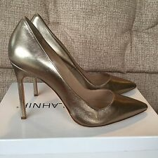 Manolo Blahnik BB Metallic Gold Leather Point Toe Pumps Size 38 $595