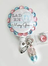LABOR AND DELIVERY NURSE ID REEL BADGE HOLDER with charm