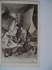 «Isaac bendice a su hijo Jacob» Grabado bíblico original por gerard Hoet (1648-1
