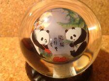 Chinese Glass Ball Panda Bears Watermelon Signed Reverse Paint Globe Art Vintage