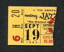 Original 7th Annual 1964 Monterey Jazz concert ticket stub Miles Davis Monk