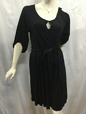 Country Road M Fits 10 12 Black 3/4 Sleeve Belted Tencil Wool Dress