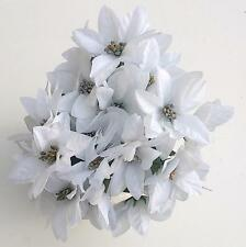 3 x WHITE/ SILVER POINSETTIA BUSHES ARTIFICIAL FLOWERS XMAS DECOR