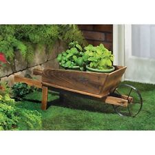 WOOD WHEELBARROW wheel barrow wagon country cart Flower plant pot stand Planter