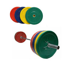 Troy Barbell VTX Olympic Rubber Bumper Plate Weight Set with Bar