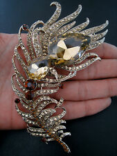 """4.2"""" LARGE GOLD CHAMPAGNE BROWN AUSTRIAN CRYSTAL PEACOCK FEATHER BROOCH"""