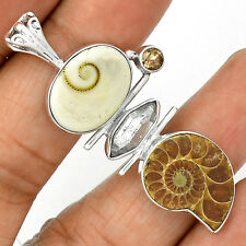 Fossil - Ammonite 925 Silver Pendant  Jewelry PP9231