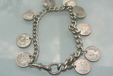 original Antique Sterling Silver Watch Chain Bracelet three pence 9 coins fixed