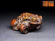 """SUPERB Signed NETSUKE 18-19th C Japanese Edo Antique SAGEMONO """"Toad"""" d074"""