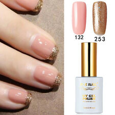 2 PIECES RS 132_253 Gel Nail Polish UV LED Glitter Soak Off 15ml Gold Pink