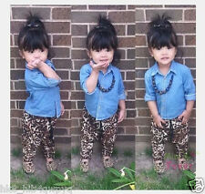 2PCS Baby Girls Fashionable Denim tops + leopard pants Kids Clothes sets